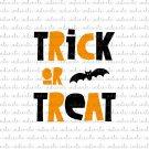 Trick or Treat with Bat Digital File Download (svg, dxf, png, jpeg)