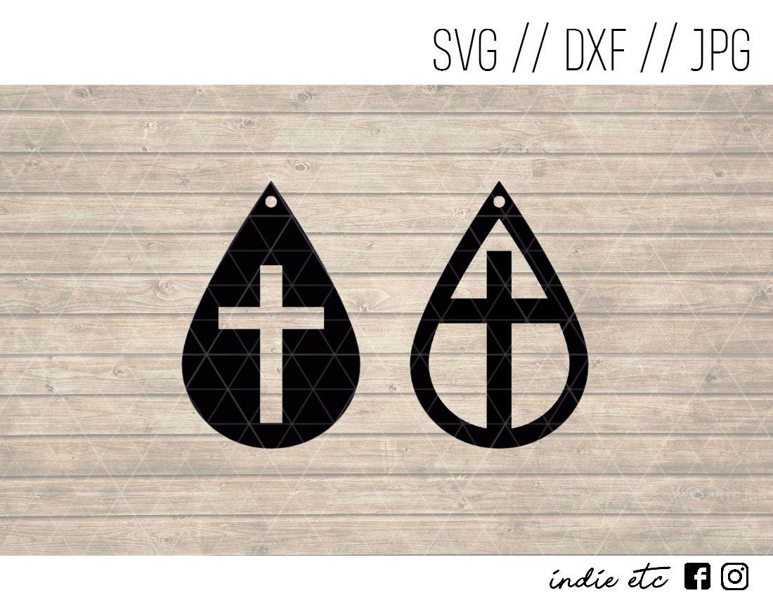 25ea7c5d4 Teardrop Cross Earring Digital Art File Download (svg, dxf, jpg) Teardrop  Leather Earrings Cut File