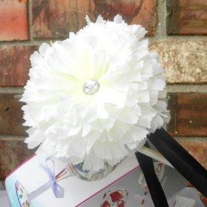 White Carnation Hair Clip