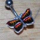 Black Red Butterfly Navel 761