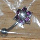 Purple 6 gem Flower Navel 763