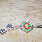 Painted Green/Red Rose Flower Navel 206