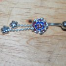 Painted Blue/Purple Rose Flower Navel 206