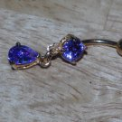 Purple Gem CZ Teardrop Navel 138