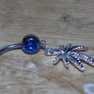 Pot Leaf Dangle In Blue Navel 163