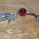 Pot Leaf Dangle In Red Navel 163