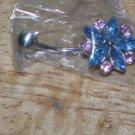 Blue/Pink Flower Navel 219