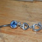 Blue CZ Double Hearts Navel 220