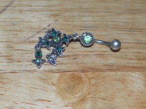 Tarnished Cross Green Gem Navel 332
