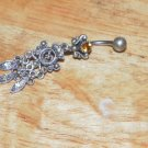 Tarnished Yellow Butterfly Heart Navel 333