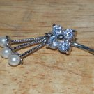 CZ Flower White Pearl Charms Navel 344