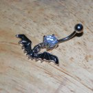 Dragon with Wings White CZ Navel 394