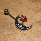 Moon with Butterfly Charm Red Navel 436