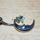 Moon with Butterfly Charm Green Navel 436