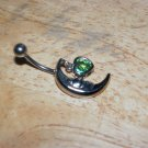 Moon Heart Charm Green Navel 434