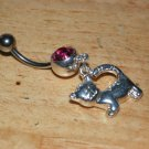 Kitty Pink CZ Navel 431