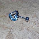 Baby Blue CZ Heart Navel 450