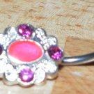 Pink Stone Cameo Navel 607