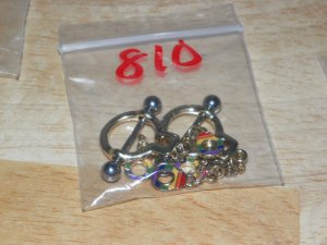Small Rainbow Dangle Handcuffs in Gold Tones Nipple Shield Pairs 810