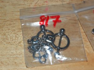Silver Handcuffs Small Dangle Charms Nipple Shield Pairs 817