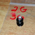 Black 2 Gauge Skull Plug Red Eyes 36