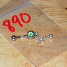 Light Green CZ Dangle Double CZ Navel 890