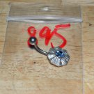 Blue CZ Silver Navel 895