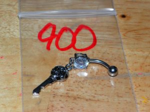 Skull Key White CZ Navel 900