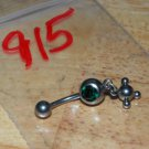 Green CZ Dangle Circles Navel 915