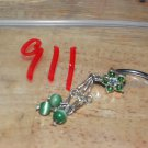 Flower Green Dangle Beads Navel 911
