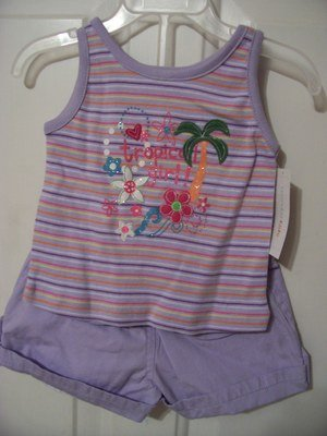 Girls 2T Purple Outfit Summer Tropical Shorts Tank
