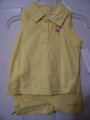 Girls Yellow Summer Short Outfit Size 12 months