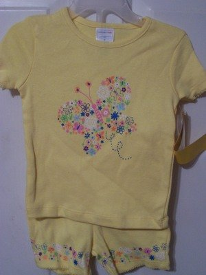 Girls Yellow Butterfly Pajamas 3T Girls