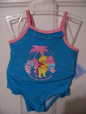 Girls  Pooh and Piglet Bathing Suit Size 12 months
