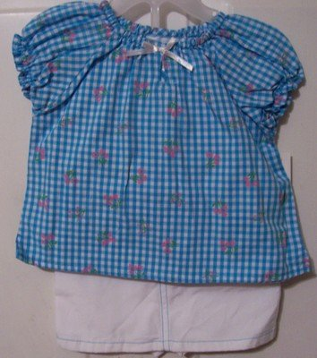Girls Blue and White Skort Outfit Size 24 months