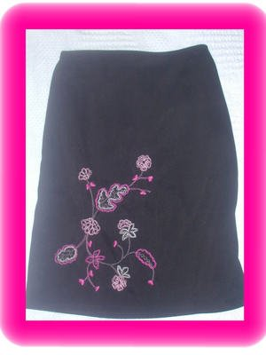 Misses California Concepts Black Embroidered Skirt Size Medium