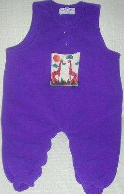Toddler Girl's Fleece Overalls Size 18 mon Purple with Giraffe