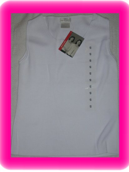 FREE SHIPPING!! Pierre Cardin Knit Sleevelss Tank / Shell  Size Small White
