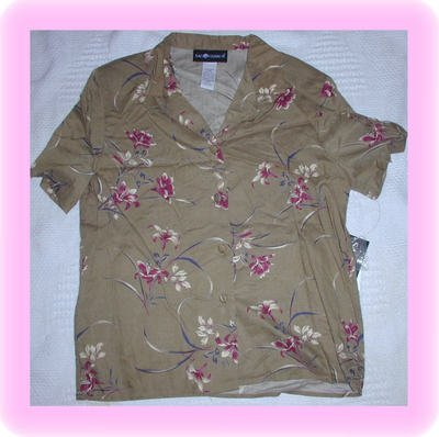 FREE SHIPPING!!  Women's Sag Harbor Button Down Neutral Print Shirt Size Small