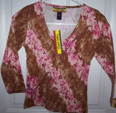 FREE SHIPPING!! Pink Safari Animal and Flower Print Shirt Juniors Size Medium