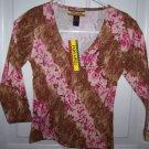 FREE SHIPPING!! Pink Safari Animal and Flower Print Shirt Juniors Size Large