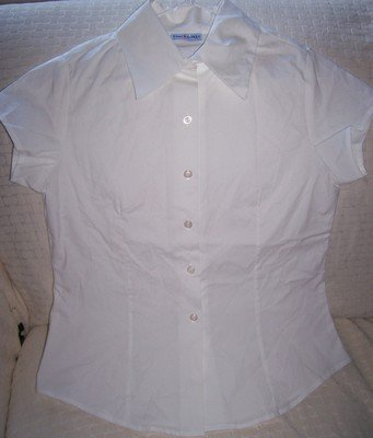 FREE SHIPPING!!  White Girls Short Sleeved Button Down Shirt LARGE