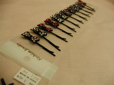 Lot of 12 Rhinestone Crystal Bow Black Hair Pins