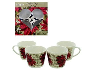 4 pack coffee cup set Poinsettia Design