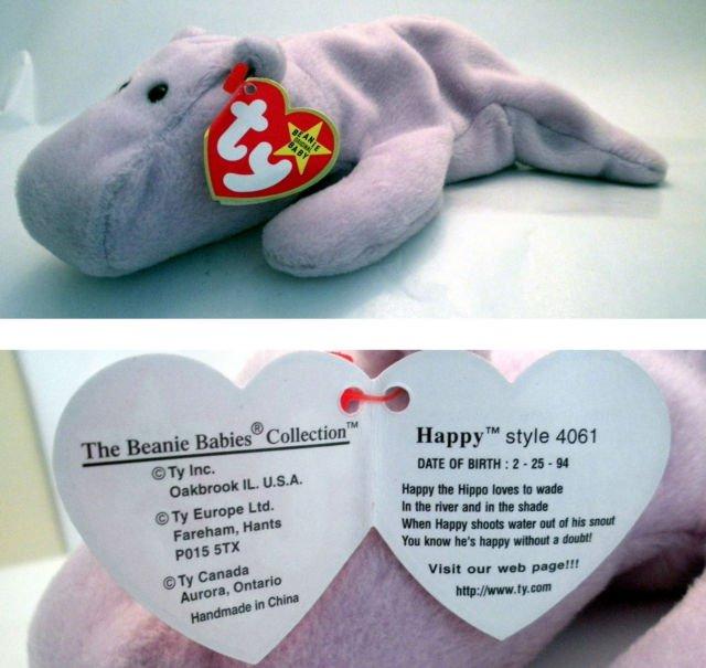 Ty Beanie Baby Happy the Hippo 4061 ae241dbcdbb