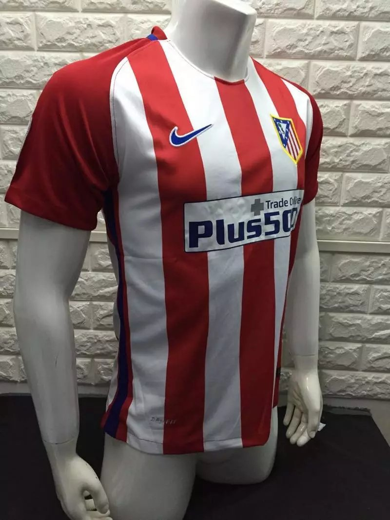 16/17 Atletico Madrid Home Soccer Jersey Shirt Football Sport Tee