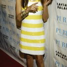 Eva Longoria 8x10 Photo - White & Yellow Stripe Dress #1
