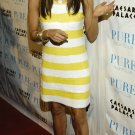 Eva Longoria 8x10 Photo - White & Yellow Stripe Dress #2