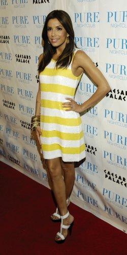 Eva Longoria 8x10 Photo - White & Yellow Stripe Dress #3
