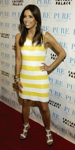 Eva Longoria 8x10 Photo - White & Yellow Stripe Dress #4